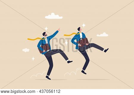 Happy Success Businessman Partner With Cheerful Jumping Metaphor Of Success In Work Or Career, Optim