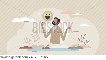Sense Of Humor And Funny Story Telling To Get Laughter Tiny Person Concept. Human Skill And Talent T