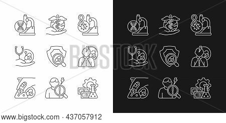 Medical Research Linear Icons Set For Dark And Light Mode. Genetic Disease Study. Check Safety New M