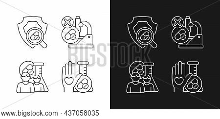 Clinical Research Facility Linear Icons Set For Dark And Light Mode. Failed Project. Human Volunteer