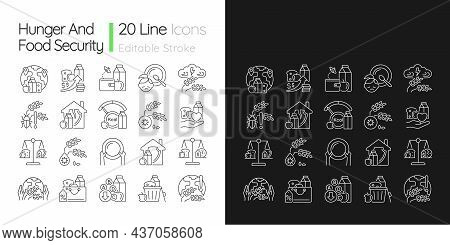 Hunger And Food Security Linear Icons Set For Dark And Light Mode. Poverty And Starvation. Harvest L