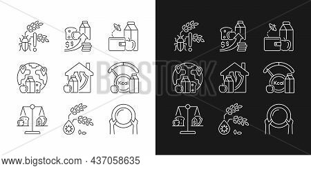 Hunger Reasons Linear Icons Set For Dark And Light Mode. Pests And Harvest Loss Danger. Poverty And