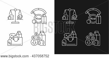 Insufficient Food Consumption Linear Icons Set For Dark And Light Mode. Grocery Products Sale. Food