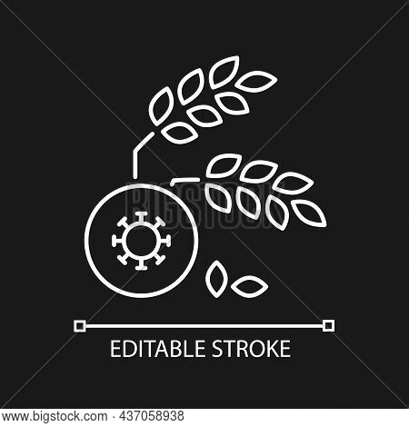 Agricultural Disease Linear Icon For Dark Theme. Harvest Loss Leads To Starvation. Crop Illnesses. T