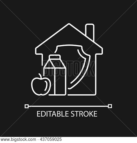 Household Food Security Linear Icon For Dark Theme. Home Products Supply. Healthy Nutrition. Thin Li