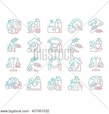 Hunger And Food Security Gradient Linear Vector Icons Set. Poverty And Starvation. Food Justice Volu