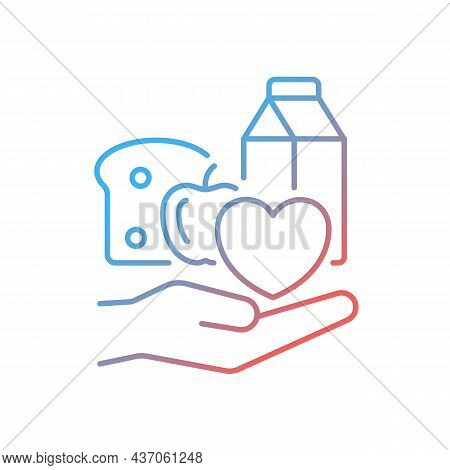 Food Donation Gradient Linear Vector Icon. Charity Organizations. Volunteering And Poor People Suppo