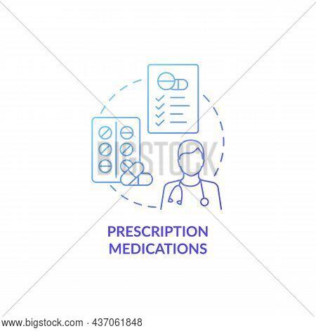 Prescription Medications Blue Gradient Concept Icon. Pneumonia Treatment Abstract Idea Thin Line Ill