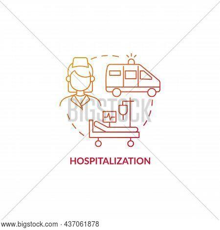 Hospitalization Red Gradient Concept Icon. Pneumonia Treatment Abstract Idea Thin Line Illustration.
