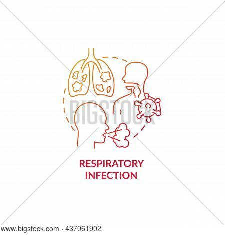 Respiratory Infection Red Gradient Concept Icon. Pneumonia Risk Factor Abstract Idea Thin Line Illus
