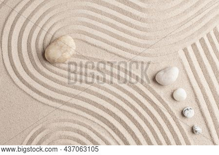 Zen marble stones sand background in peace concept