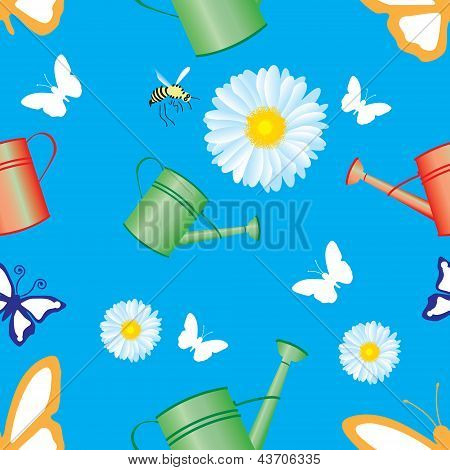 Seamless pattern with a background from the garden