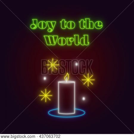 Composition of neon joy to the world text, christmas stars and candle on black background. christmas, winter, tradition and celebration concept digitally generated image.