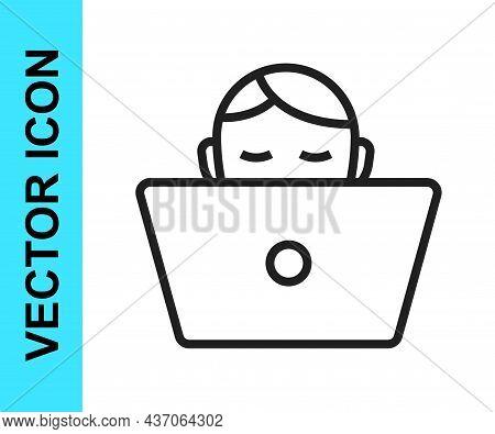 Black Line Freelancer Icon Isolated On White Background. Freelancer Man Working On Laptop At His Hou