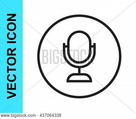 Black Line Microphone Icon Isolated On White Background. On Air Radio Mic Microphone. Speaker Sign.