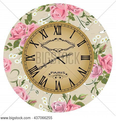 Clock Decorated With Flowers.floral Decoration On The Dial Of The Clock In Vector Illustration.