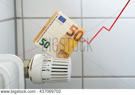 Rising Curve Of Increasing Costs For Heat And Energy, Problem For Home Budgets Symbolized By A Bankn