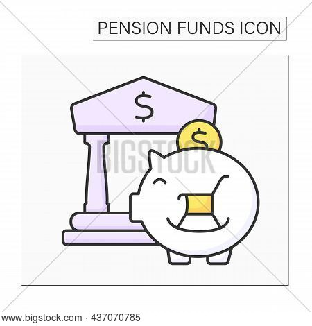 Pension Funds Investment Color Icon. Investing Money For Better Retirement. Accumulate Earnings In B