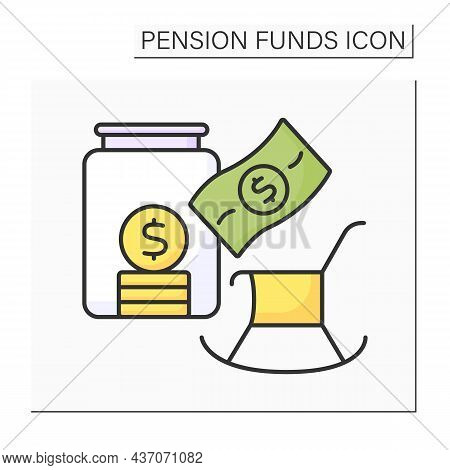 Pension Saving Color Icon. Saving Money Into Glass Jar. Accumulation Earnings.pension Fund Concept.