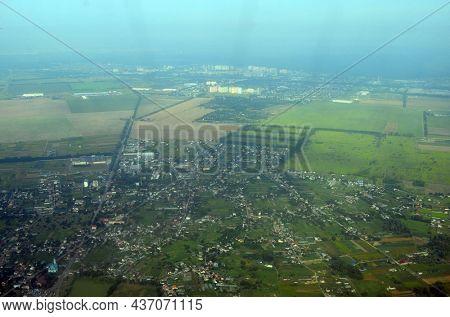 Aerial view of countryside from airliner. Kiev Region.5 August 2021. Flight Dalaman-Kiev