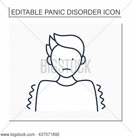 Trembling Line Icon. Uncontrollable Shaking. Body Reaction To Fear. Scare Attack. Panic Disorder Con