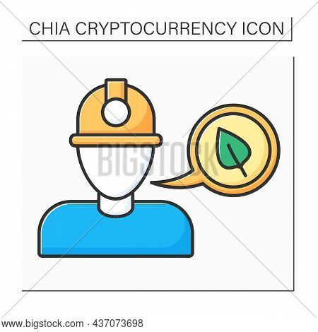 Big Miner Color Icon. Miners Use Hardware To Produce Chia Currency. Global Industry. Digital Money C