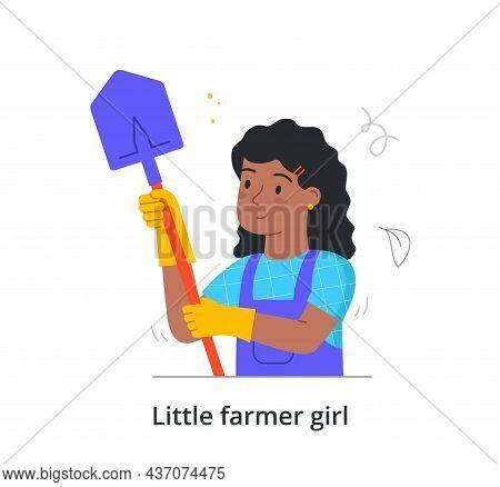 Little Girl Farmer Concept. Female Character Holding Shovel For Digging Up Garden. Child Does Housew
