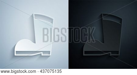 Paper Cut Waterproof Rubber Boot Icon Isolated On Grey And Black Background. Gumboots For Rainy Weat