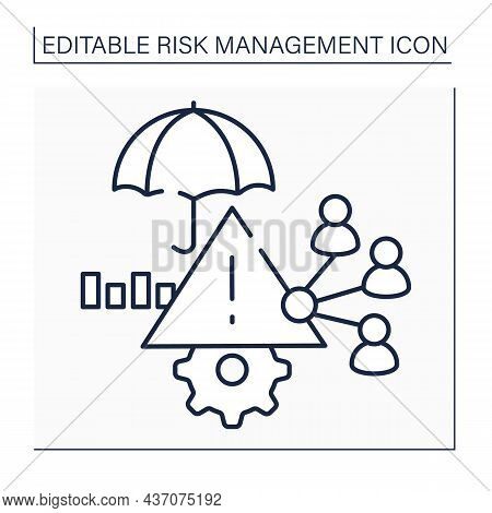 Risk Allocation Line Icon. Identifying Risk. Determining How And To What Extent Should Be Shared Res