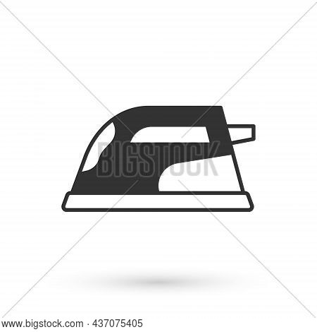 Grey Electric Iron Icon Isolated On White Background. Steam Iron. Vector