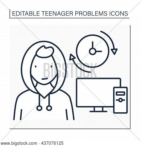 Teenage Problem Line Icon.spend A Lot Of Time At Computer. Avoid Real Life Communication. Escape Fro