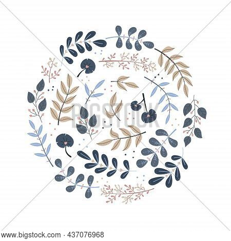 Vector Floral Illustration In A Round Shape. Botanical Illustration