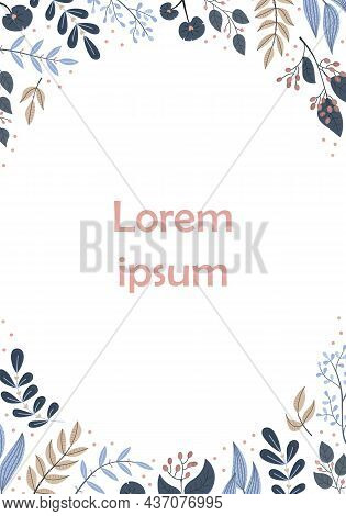 Vector Floral Template With A Place For Text. Botanical Illustration