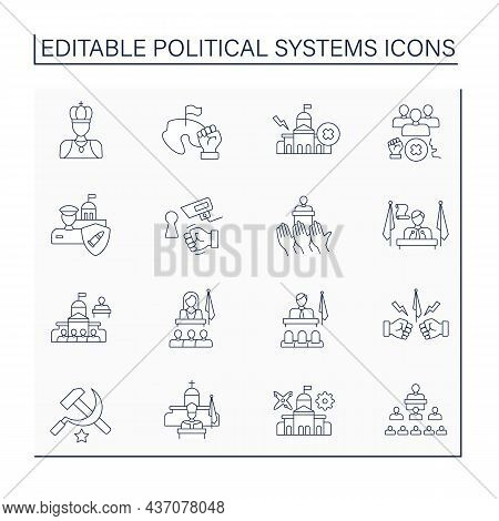 Political Systems Line Icons Set. Orderly Multi Faceted System Of State And Non State Relations And