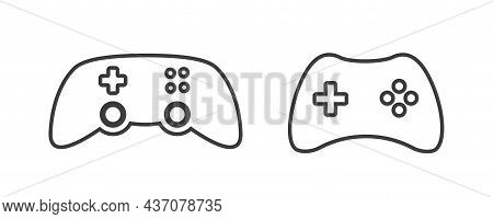 Joystick Video Game Controller Icon. Play Console Or Joypad In Outline Style. Gamepad For Computer G
