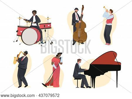 Set Of Jazz Band People. Men And Women Play Musical Instruments And Sing. Characters With Drums, Cel