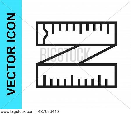 Black Line Tape Measure Icon Isolated On White Background. Measuring Tape. Vector