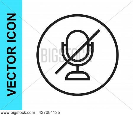 Black Line Mute Microphone Icon Isolated On White Background. Microphone Audio Muted. Vector