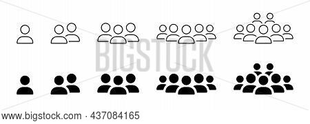 Crowd Of People Line And Silhouette Icons. Human Social Group Outline Pictogram. Persons Symbol Busi