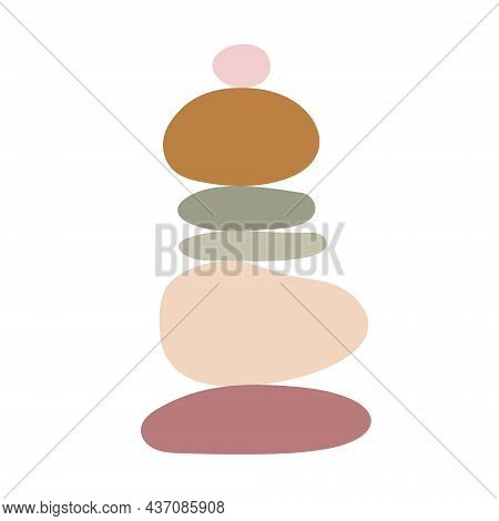 Zen Stones Simple Abstract Vector Illustration In Flat Style, Relax, Meditation And Yoga Concept, Bo