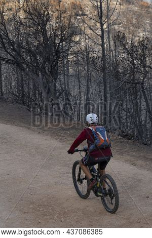 Jerusalem, Israel - September 7th, 2021: A Biker On A Path In A Forest Burnt By A Wildfire, Near Jer