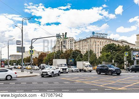 Moscow, Russia - August 23, 2021: Car Traffic On Garden Ring Road In Moscow City On Summer Day. Gard
