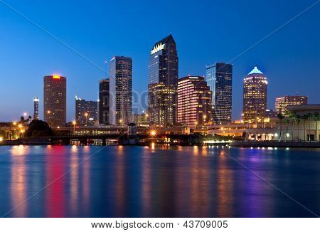 Downtown Tampa Florida Skyline at Night