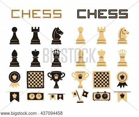 Set Of Hand Drawn Chess Icons. Chess Pieces, Checkerboard, Cup, Medals And Flags. Black And Beige Is