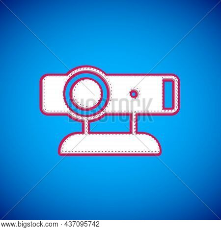 White Web Camera Icon Isolated On Blue Background. Chat Camera. Webcam Icon. Vector