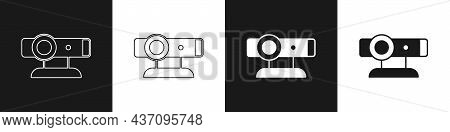 Set Web Camera Icon Isolated On Black And White Background. Chat Camera. Webcam Icon. Vector