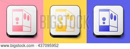 Isometric Case Of Computer Icon Isolated On Pink, Yellow And Blue Background. Computer Server. Works
