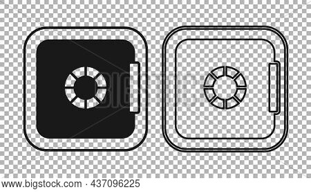 Black Safe Icon Isolated On Transparent Background. The Door Safe A Bank Vault With A Combination Lo