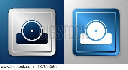 White Otolaryngological Head Reflector Icon Isolated On Blue And Grey Background. Equipment For Insp