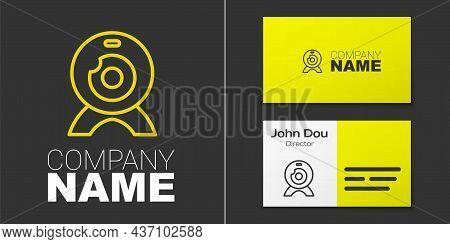 Logotype Line Web Camera Icon Isolated On Grey Background. Chat Camera. Webcam Icon. Logo Design Tem